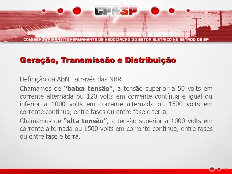"""Definição da ABNT através das NBR Chamamos de """"baixa tensão"""", a tensão superior a 50 volts em corrente alternada ou 120 volts em corrente contínua e i"""