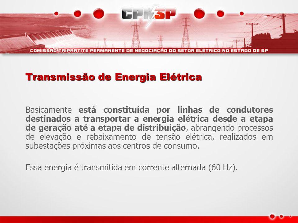 Transmissão de Energia Elétrica Basicamente está constituída por linhas de condutores destinados a transportar a energia elétrica desde a etapa de ger