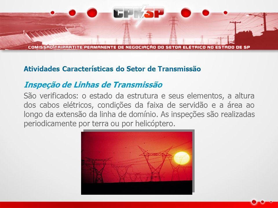 Atividades Características do Setor de Transmissão Inspeção de Linhas de Transmissão São verificados: o estado da estrutura e seus elementos, a altura