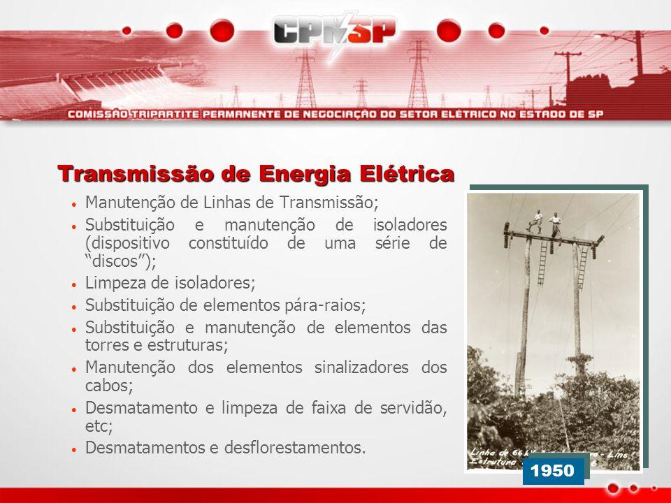Transmissão de Energia Elétrica Manutenção de Linhas de Transmissão; Substituição e manutenção de isoladores (dispositivo constituído de uma série de