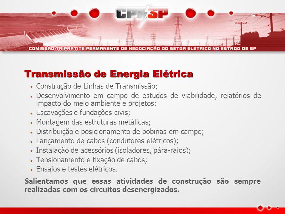 Transmissão de Energia Elétrica Construção de Linhas de Transmissão; Desenvolvimento em campo de estudos de viabilidade, relatórios de impacto do meio