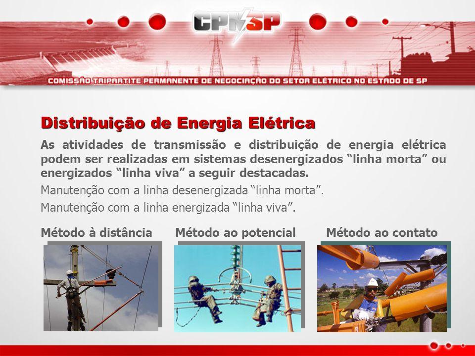 """Distribuição de Energia Elétrica As atividades de transmissão e distribuição de energia elétrica podem ser realizadas em sistemas desenergizados """"linh"""