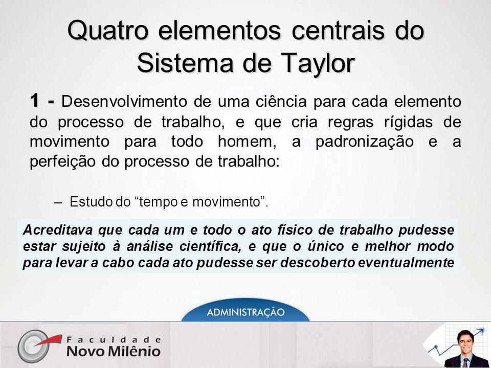Quatro elementos centrais do Sistema de Taylor 1 - 1 - Desenvolvimento de uma ciência para cada elemento do processo de trabalho, e que cria regras rígidas de movimento para todo homem, a padronização e a perfeição do processo de trabalho: –Estudo do tempo e movimento .