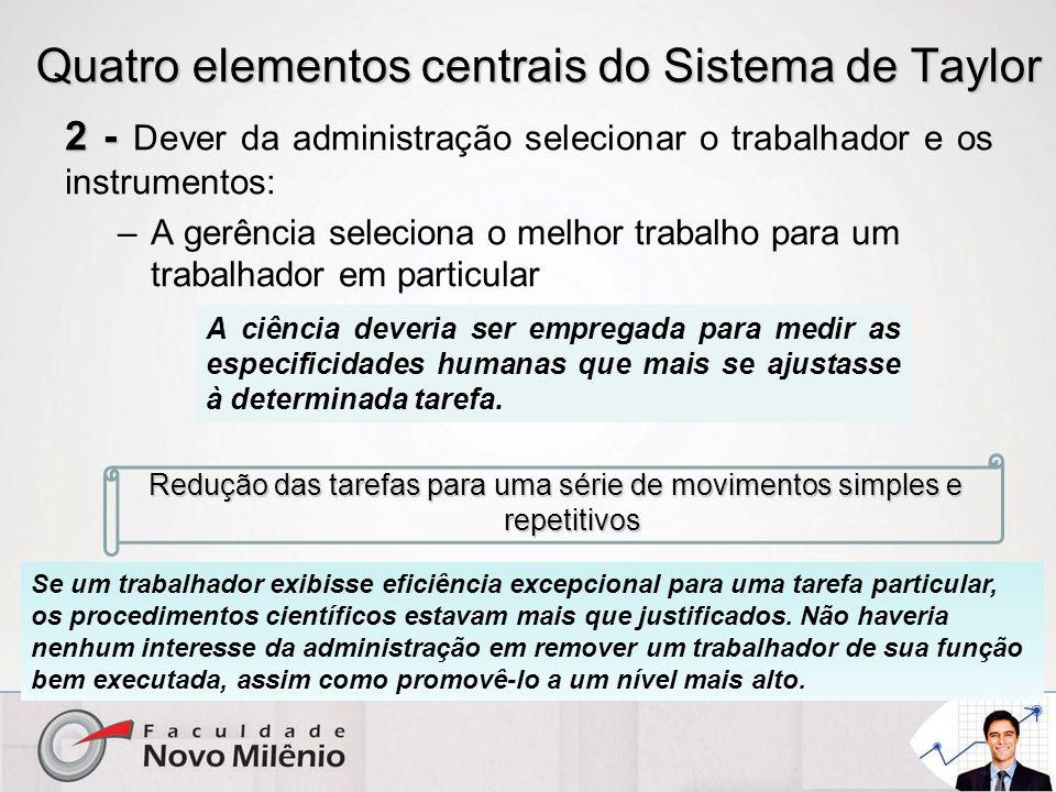 Quatro elementos centrais do Sistema de Taylor 2 - 2 - Dever da administração selecionar o trabalhador e os instrumentos: –A gerência seleciona o melh