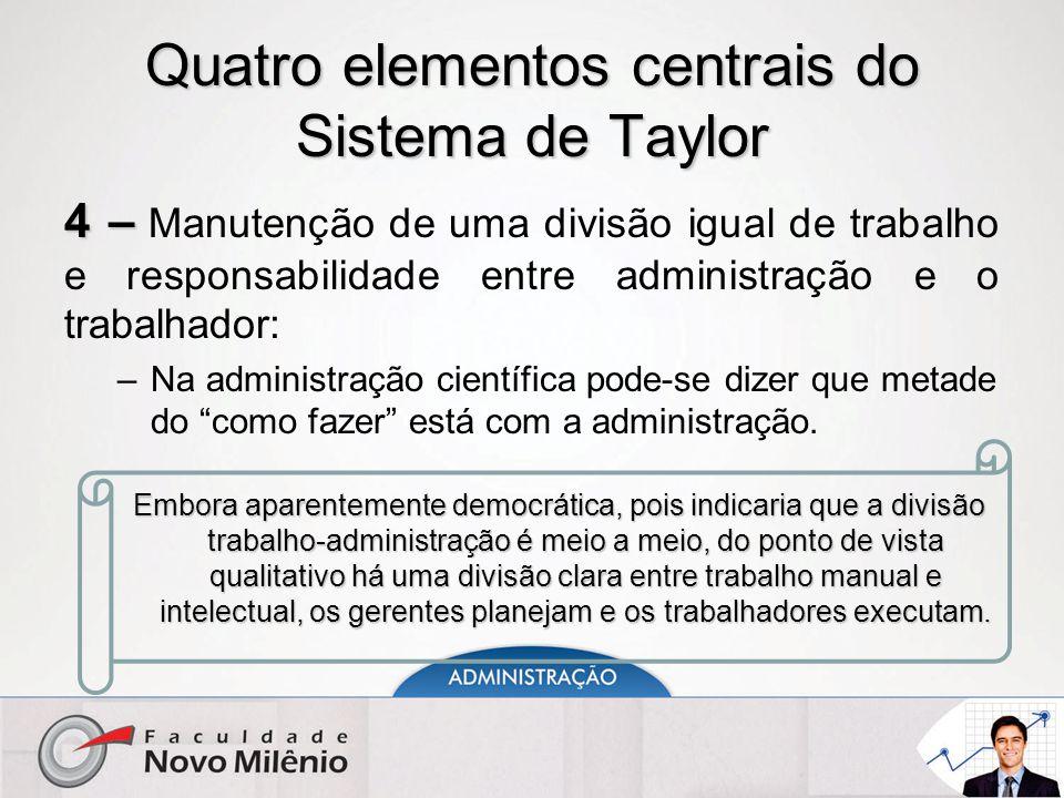Quatro elementos centrais do Sistema de Taylor 4 – 4 – Manutenção de uma divisão igual de trabalho e responsabilidade entre administração e o trabalhador: –Na administração científica pode-se dizer que metade do como fazer está com a administração.