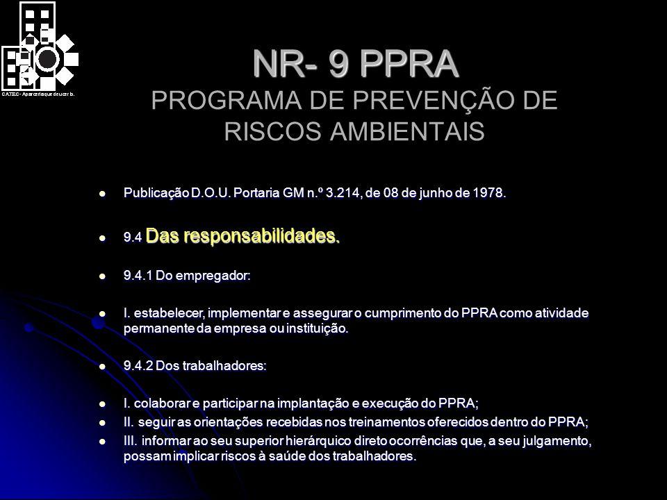 NR- 9 PPRA NR- 9 PPRA PROGRAMA DE PREVENÇÃO DE RISCOS AMBIENTAIS Publicação D.O.U.