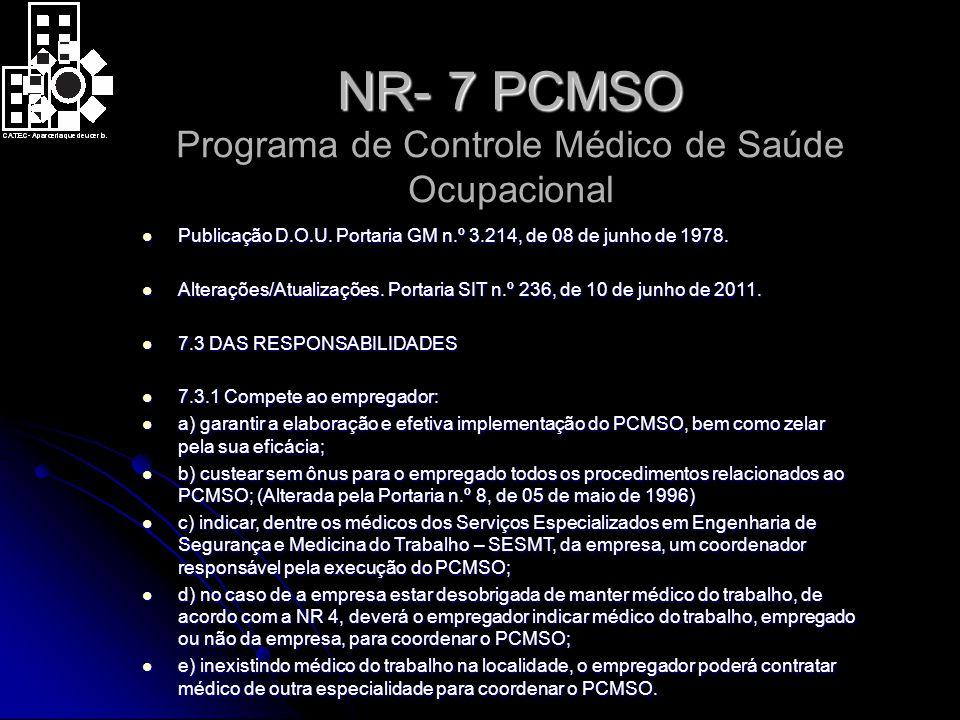 NR- 7 PCMSO NR- 7 PCMSO Programa de Controle Médico de Saúde Ocupacional Publicação D.O.U.