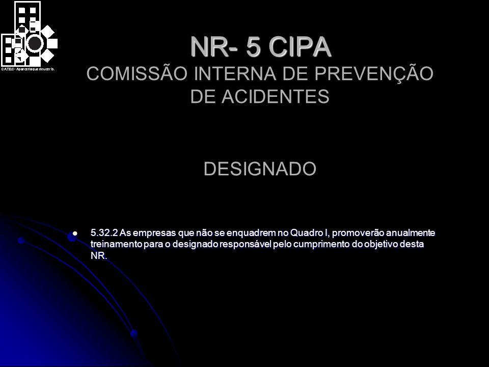 NR- 5 CIPA NR- 5 CIPA COMISSÃO INTERNA DE PREVENÇÃO DE ACIDENTES 5.32.2 As empresas que não se enquadrem no Quadro I, promoverão anualmente treinamento para o designado responsável pelo cumprimento do objetivo desta NR.