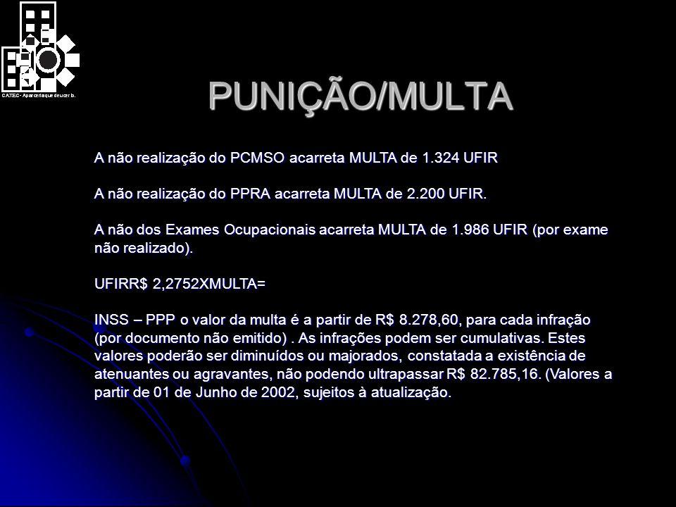 PUNIÇÃO/MULTA A não realização do PCMSO acarreta MULTA de 1.324 UFIR A não realização do PPRA acarreta MULTA de 2.200 UFIR.