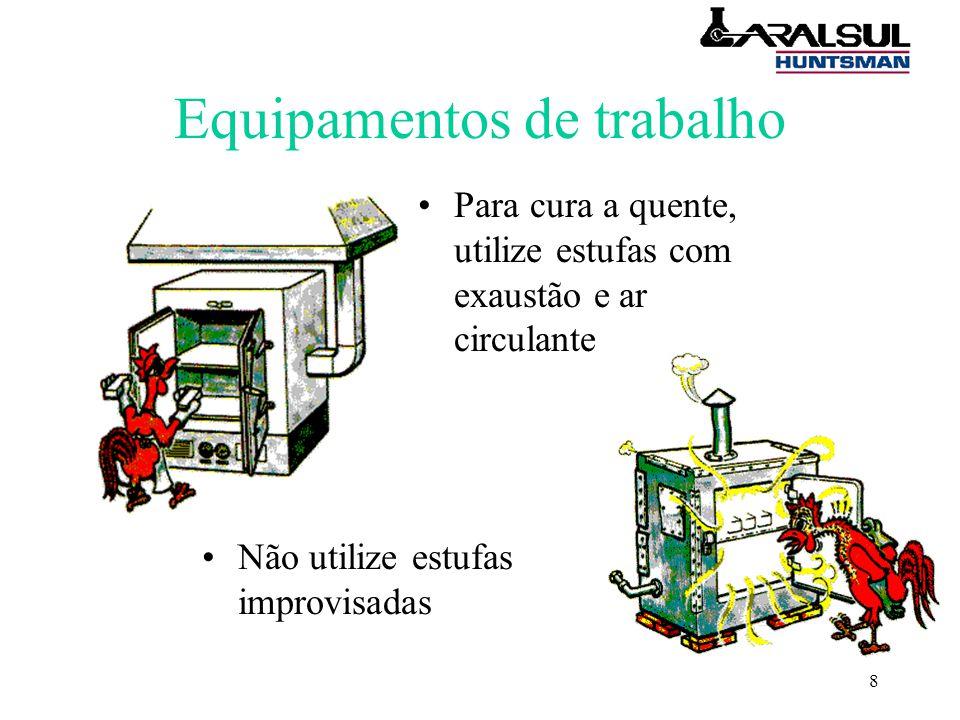 8 Equipamentos de trabalho Para cura a quente, utilize estufas com exaustão e ar circulante Não utilize estufas improvisadas