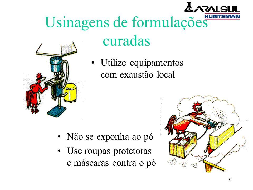 9 Usinagens de formulações curadas Utilize equipamentos com exaustão local Não se exponha ao pó Use roupas protetoras e máscaras contra o pó