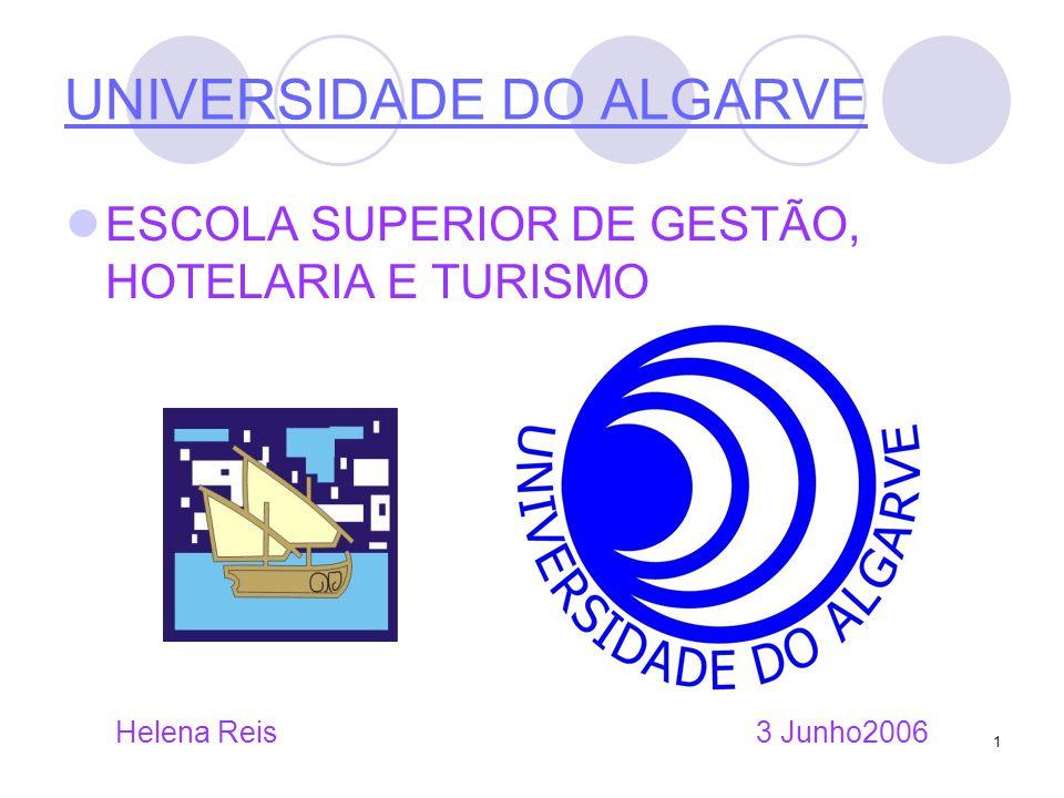 1 UNIVERSIDADE DO ALGARVE ESCOLA SUPERIOR DE GESTÃO, HOTELARIA E TURISMO Helena Reis 3 Junho2006