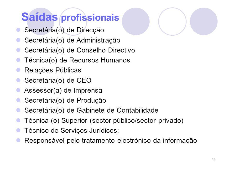 11 Saídas profissionais Secretária(o) de Direcção Secretária(o) de Administração Secretária(o) de Conselho Directivo Técnica(o) de Recursos Humanos Relações Públicas Secretária(o) de CEO Assessor(a) de Imprensa Secretária(o) de Produção Secretária(o) de Gabinete de Contabilidade Técnica (o) Superior (sector público/sector privado) Técnico de Serviços Jurídicos; Responsável pelo tratamento electrónico da informação