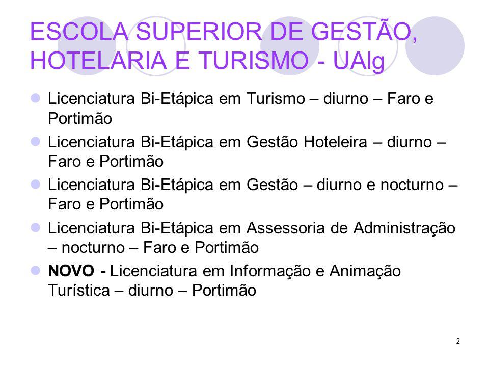 2 ESCOLA SUPERIOR DE GESTÃO, HOTELARIA E TURISMO - UAlg Licenciatura Bi-Etápica em Turismo – diurno – Faro e Portimão Licenciatura Bi-Etápica em Gestã