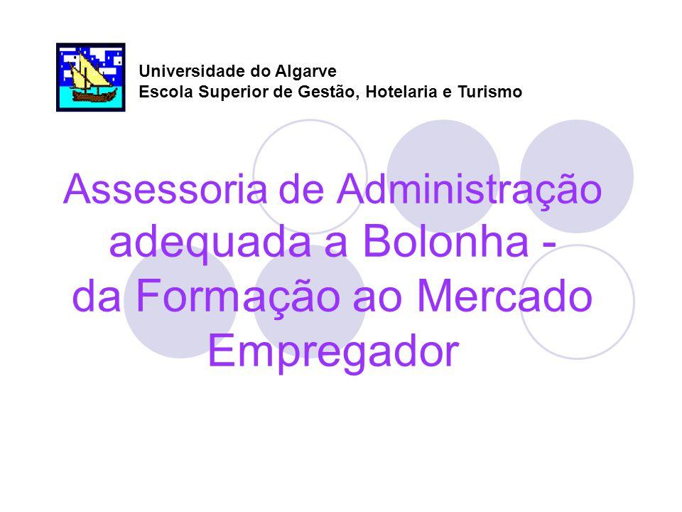 Assessoria de Administração adequada a Bolonha - da Formação ao Mercado Empregador Universidade do Algarve Escola Superior de Gestão, Hotelaria e Turismo