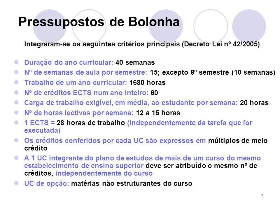 7 Pressupostos de Bolonha Integraram-se os seguintes critérios principais (Decreto Lei nº 42/2005): Duração do ano curricular: 40 semanas Nº de semana