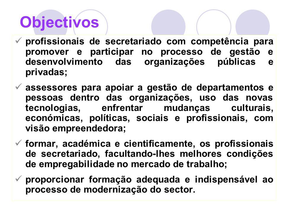 8 Objectivos profissionais de secretariado com competência para promover e participar no processo de gestão e desenvolvimento das organizações pública