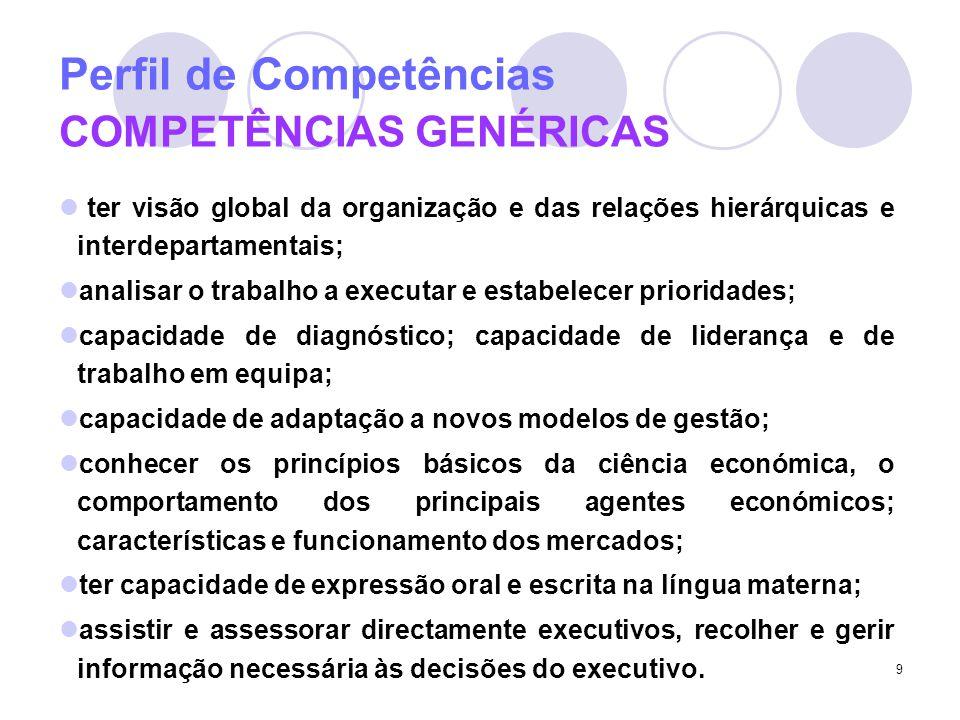 9 Perfil de Competências COMPETÊNCIAS GENÉRICAS ter visão global da organização e das relações hierárquicas e interdepartamentais; analisar o trabalho