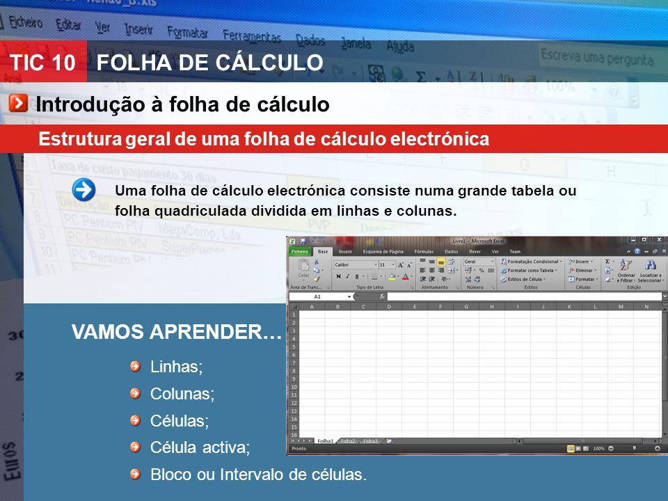 TIC 10FOLHA DE CÁLCULO Introdução à folha de cálculo Estrutura geral de uma folha de cálculo electrónica Uma folha de cálculo electrónica consiste num
