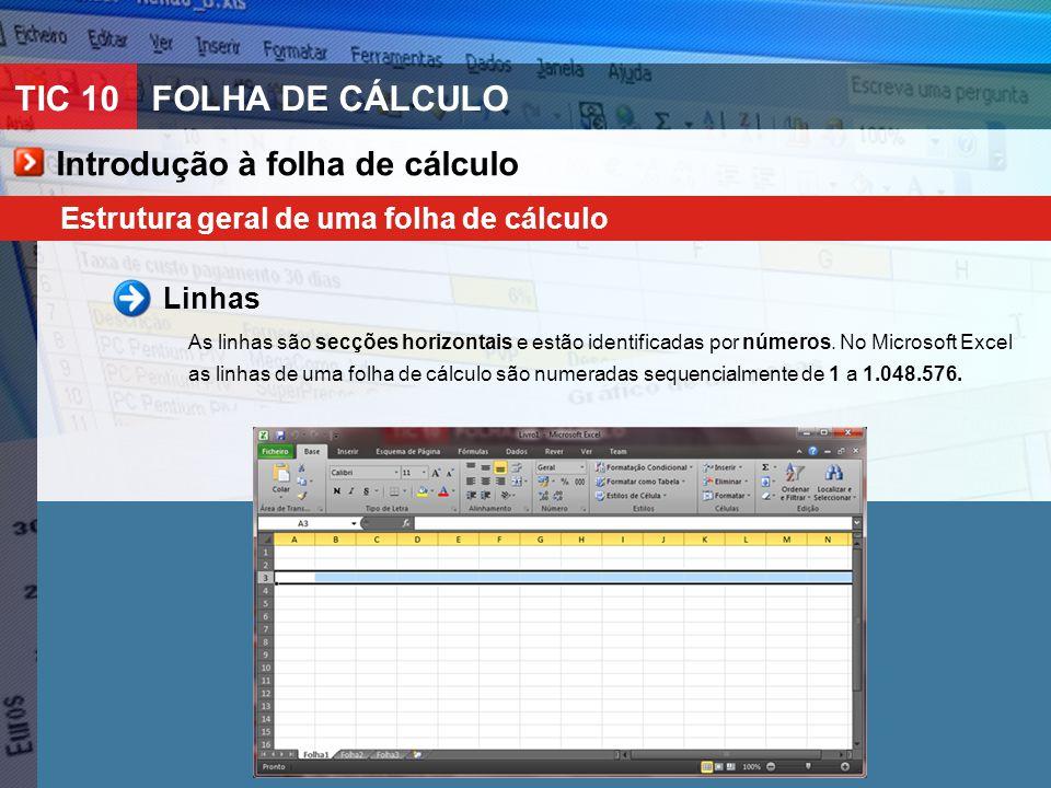 TIC 10FOLHA DE CÁLCULO Introdução à folha de cálculo Estrutura geral de uma folha de cálculo Linhas As linhas são secções horizontais e estão identifi