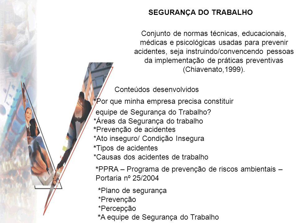 SEGURANÇA DO TRABALHO Conjunto de normas técnicas, educacionais, médicas e psicológicas usadas para prevenir acidentes, seja instruindo/convencendo pe