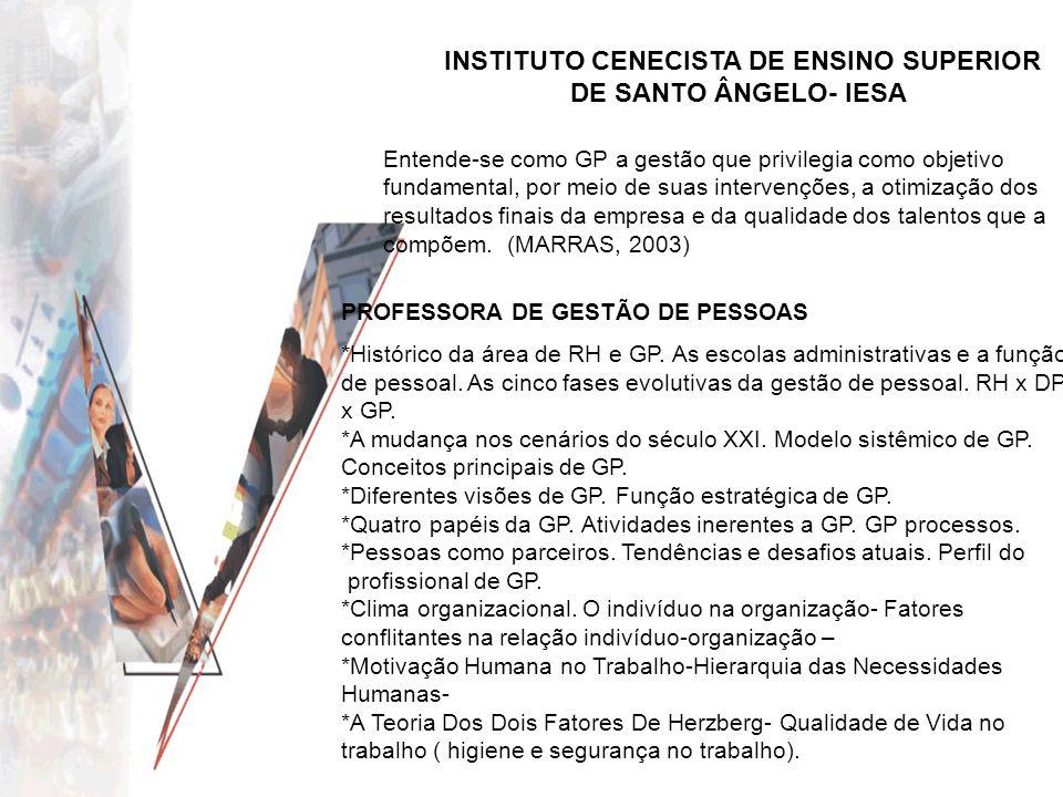 INSTITUTO CENECISTA DE ENSINO SUPERIOR DE SANTO ÂNGELO- IESA PROFESSORA DE GESTÃO DE PESSOAS *Histórico da área de RH e GP. As escolas administrativas