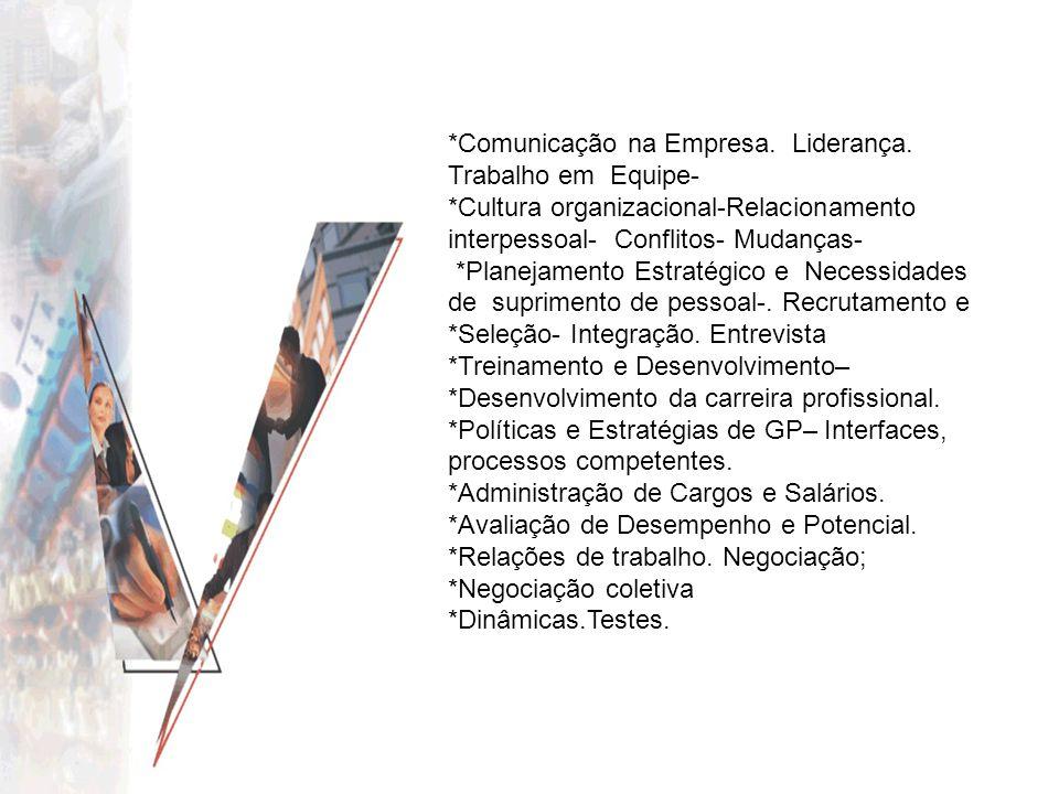 *Comunicação na Empresa. Liderança. Trabalho em Equipe- *Cultura organizacional-Relacionamento interpessoal- Conflitos- Mudanças- *Planejamento Estrat