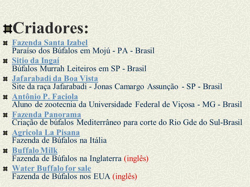 L I N K S A F I N S: Lista de discussão sobre búfalos Lista de discussão sobre búfalos Mensagens enviadas pelos membros do grupo Associações Associação Brasileira de Criadores de Búfalos Site oficial Associação Brasileira de Criadores de Búfalos Associação Sulina de Criadores de Búfalos Associação Sulina de Criadores de Búfalos Site oficial Associação Argentina de Criadores de Búfalos Associação Argentina de Criadores de Búfalos Site Oficial (espanhol) Associação para Produção e Desenvolvimento do Búfalos na Argentina Associação para Produção e Desenvolvimento do Búfalos na Argentina Site Oficial (espanhol) Associação Colombiana de Criadores de Búfalos Associação Colombiana de Criadores de Búfalos Site Oficial (espanhol)