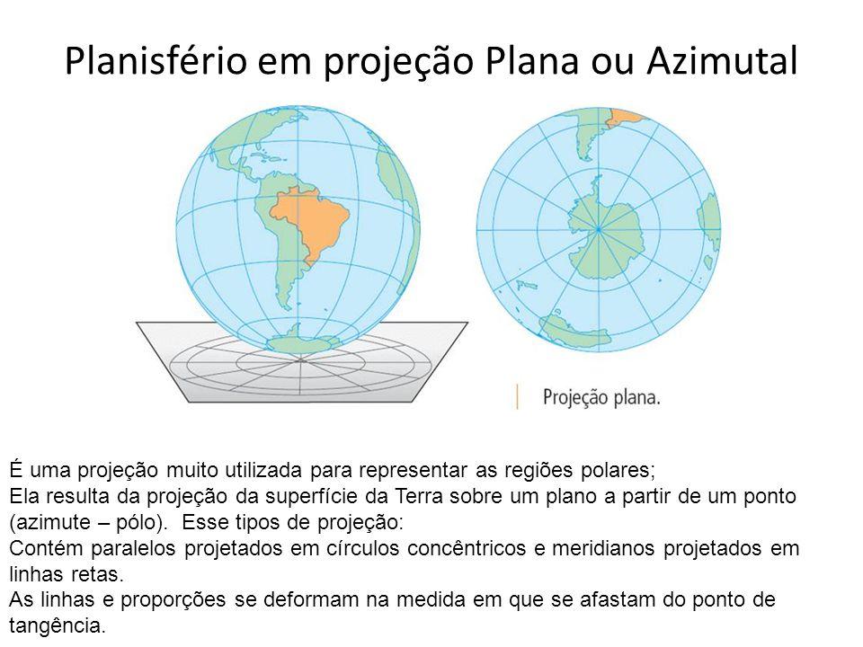 Planisfério em projeção Plana ou Azimutal É uma projeção muito utilizada para representar as regiões polares; Ela resulta da projeção da superfície da