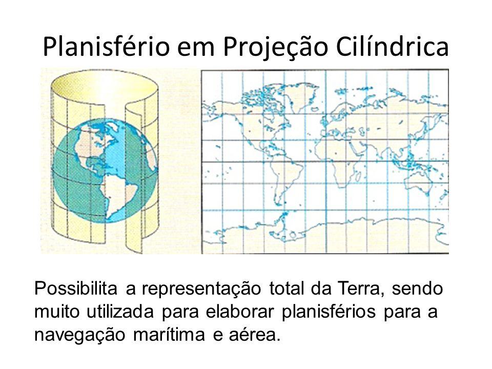 Planisfério em Projeção Cilíndrica É feita como se uma luz atravessasse o globo e projetasse os paralelos e meridianos, os continentes e oceanos sobre um cilindro envolvente, que depois é planificado: Os paralelos e medianos ficam retos e perpendiculares, formando ângulos retos – 90º.