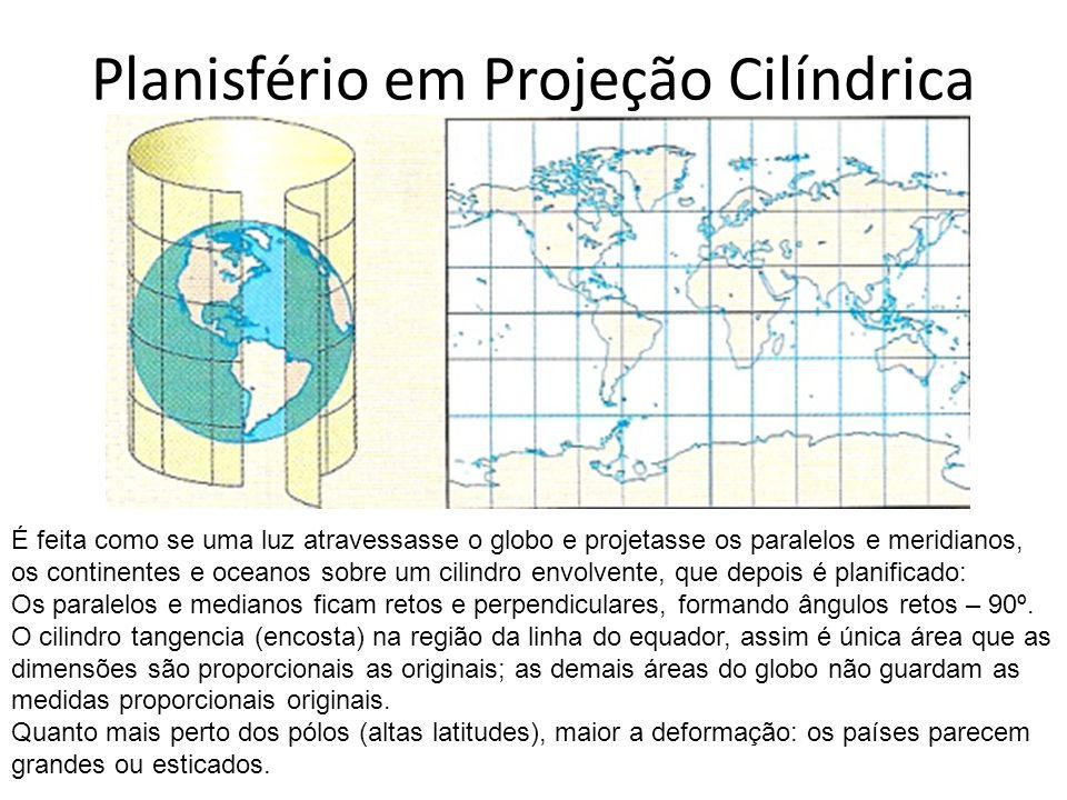 Planisfério em Projeção Cilíndrica É feita como se uma luz atravessasse o globo e projetasse os paralelos e meridianos, os continentes e oceanos sobre