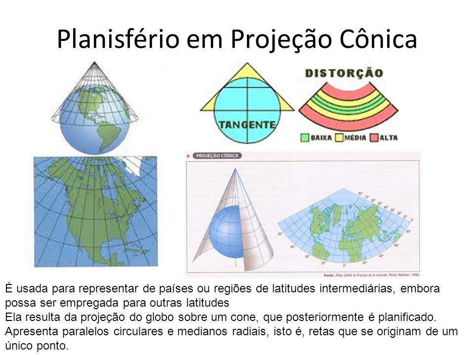 Planisfério em Projeção Cônica É usada para representar de países ou regiões de latitudes intermediárias, embora possa ser empregada para outras latit
