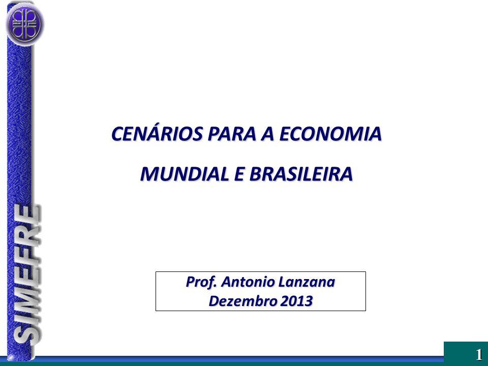 Tabela 3 – Brasil – Projeções INDICADORES20092010201120122013*2014* PIB (%)-0,307,502,701,002,302,00 Inflação (%)4,305,906,505,845,806,00 Taxa de Juros (% a.a.) 8,7510,7511,007,2510,0010,50 Taxa de Câmbio (final de período) 1,741,671,852,042,302,50