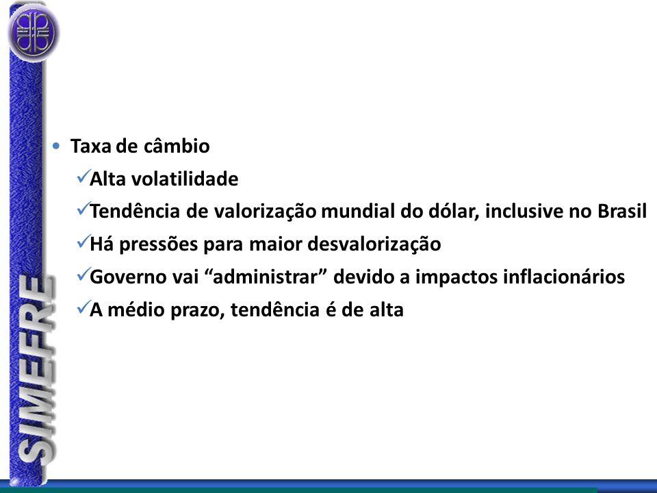 Taxa de câmbio Alta volatilidade Tendência de valorização mundial do dólar, inclusive no Brasil Há pressões para maior desvalorização Governo vai administrar devido a impactos inflacionários A médio prazo, tendência é de alta