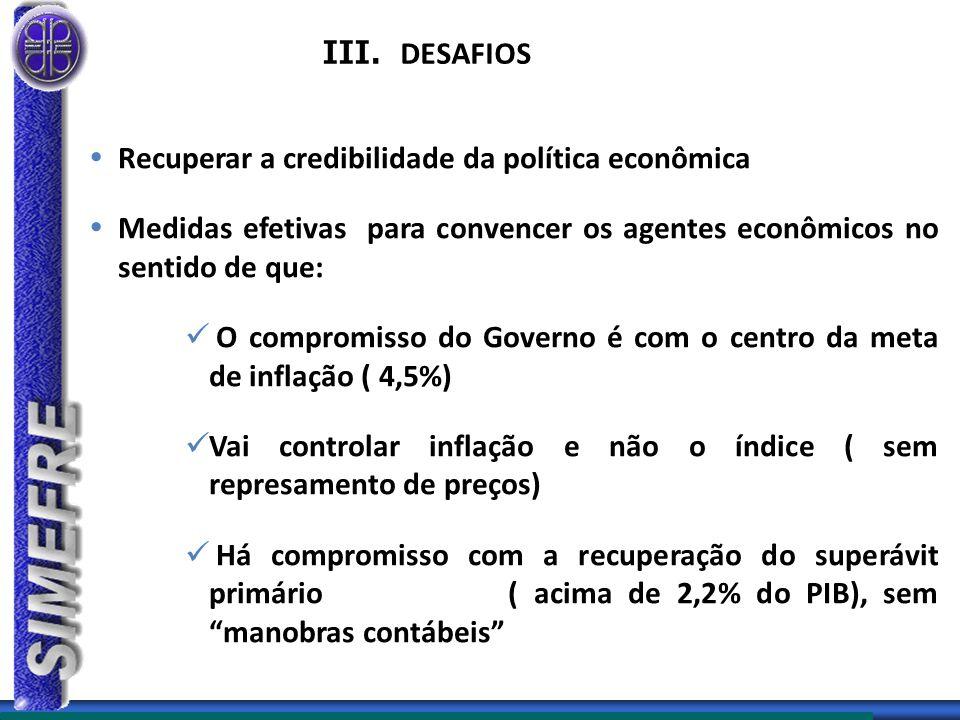 III. DESAFIOS  Recuperar a credibilidade da política econômica  Medidas efetivas para convencer os agentes econômicos no sentido de que: O compromis