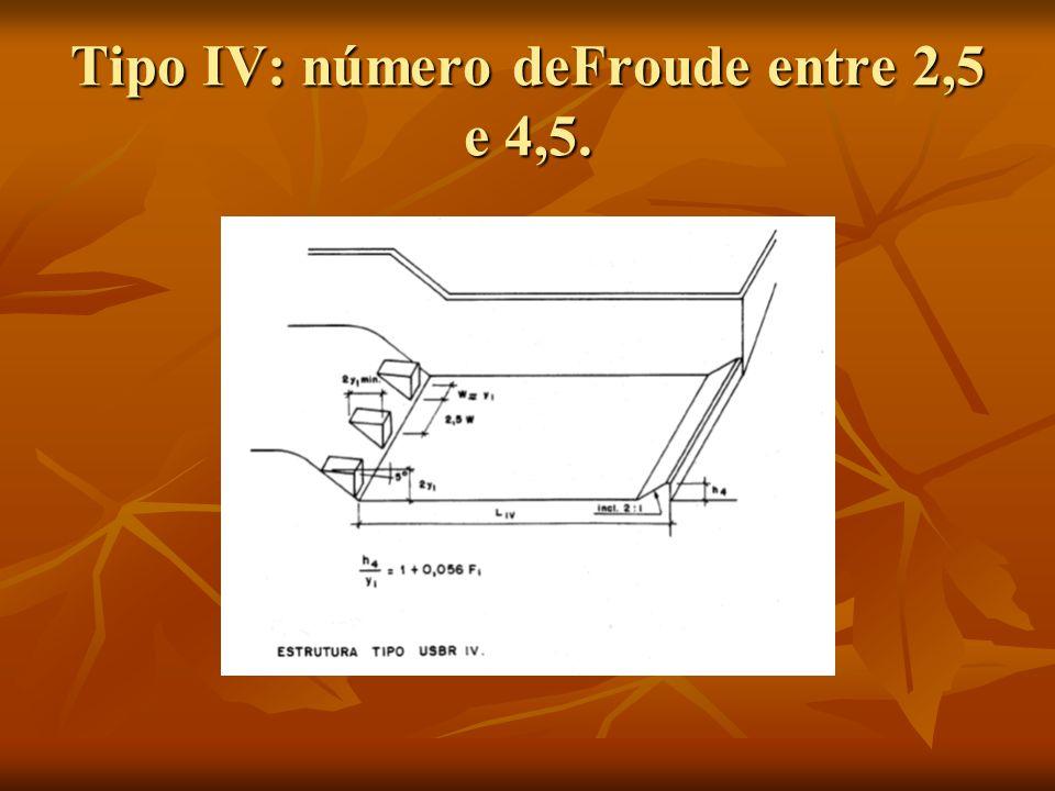 Tipo IV: número deFroude entre 2,5 e 4,5.