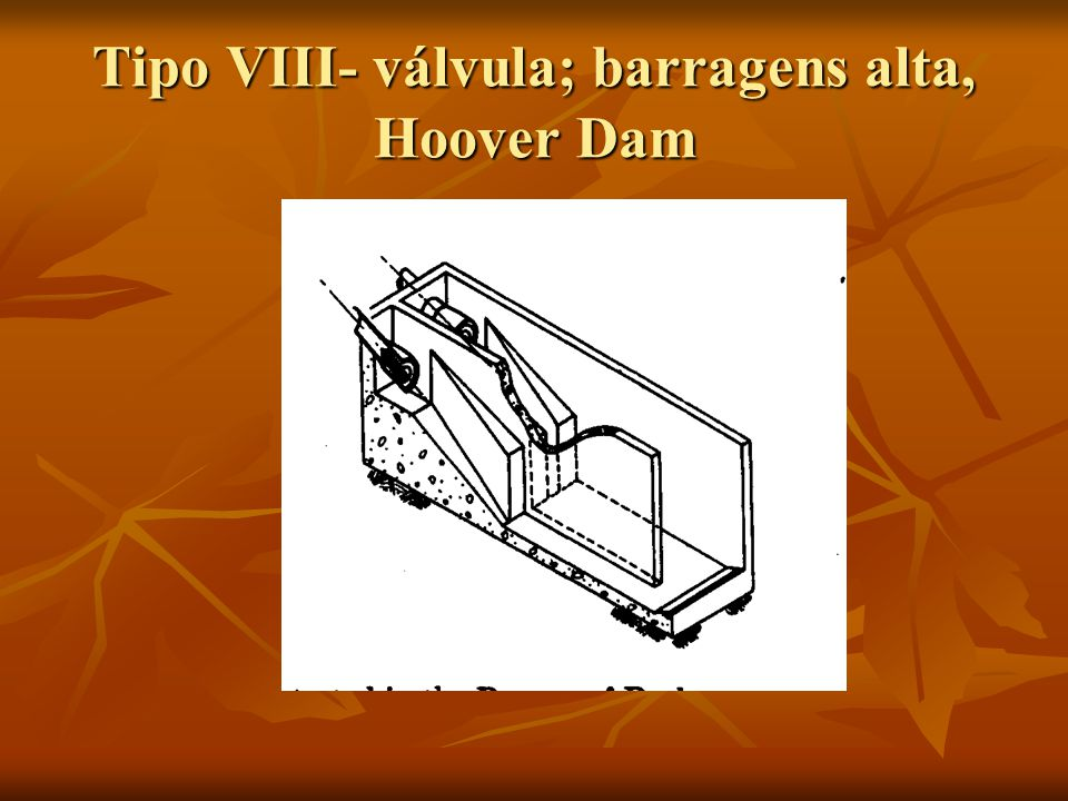 Tipo VIII- válvula; barragens alta, Hoover Dam
