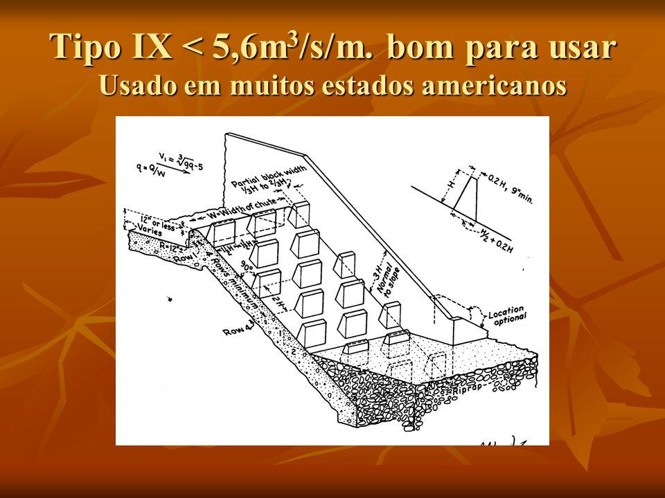 Tipo IX < 5,6m 3 /s/m. bom para usar Usado em muitos estados americanos