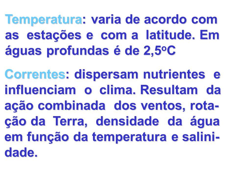 Temperatura: varia de acordo com as estações e com a latitude. Em águas profundas é de 2,5 o C Correntes: dispersam nutrientes e influenciam o clima.