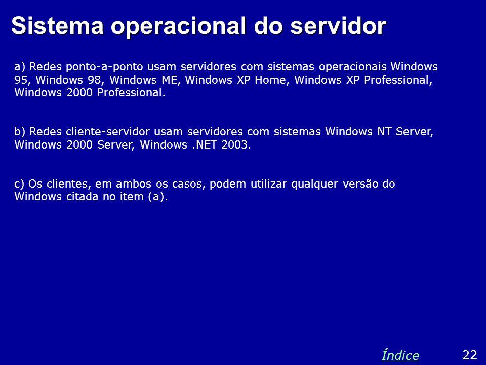 Sistema operacional do servidor a) Redes ponto-a-ponto usam servidores com sistemas operacionais Windows 95, Windows 98, Windows ME, Windows XP Home,