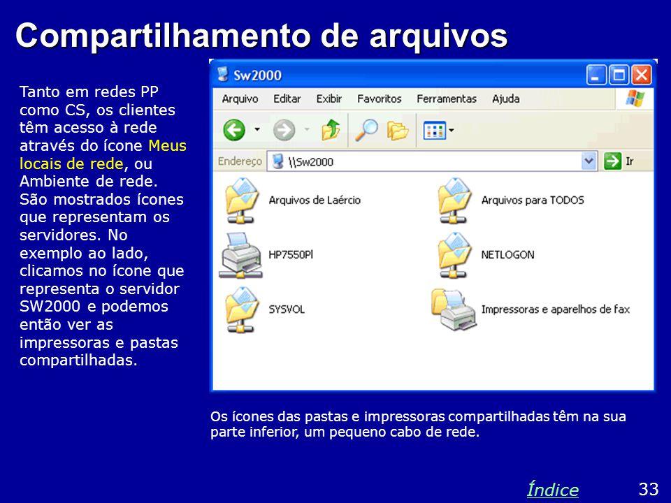 Compartilhamento de arquivos Tanto em redes PP como CS, os clientes têm acesso à rede através do ícone Meus locais de rede, ou Ambiente de rede. São m