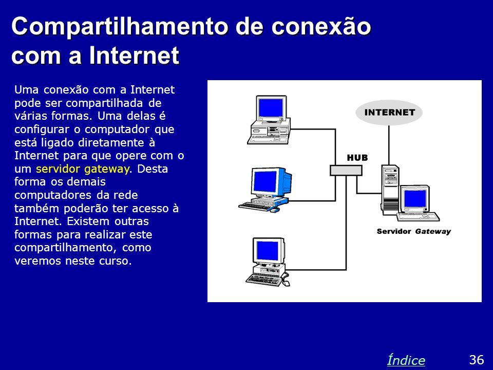 Compartilhamento de conexão com a Internet Uma conexão com a Internet pode ser compartilhada de várias formas. Uma delas é configurar o computador que