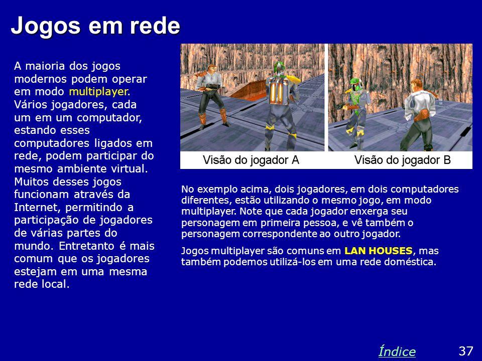 Jogos em rede A maioria dos jogos modernos podem operar em modo multiplayer. Vários jogadores, cada um em um computador, estando esses computadores li