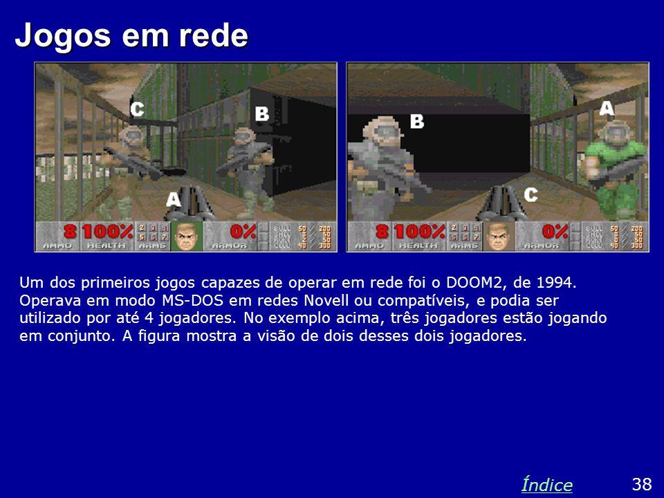 Jogos em rede Um dos primeiros jogos capazes de operar em rede foi o DOOM2, de 1994. Operava em modo MS-DOS em redes Novell ou compatíveis, e podia se