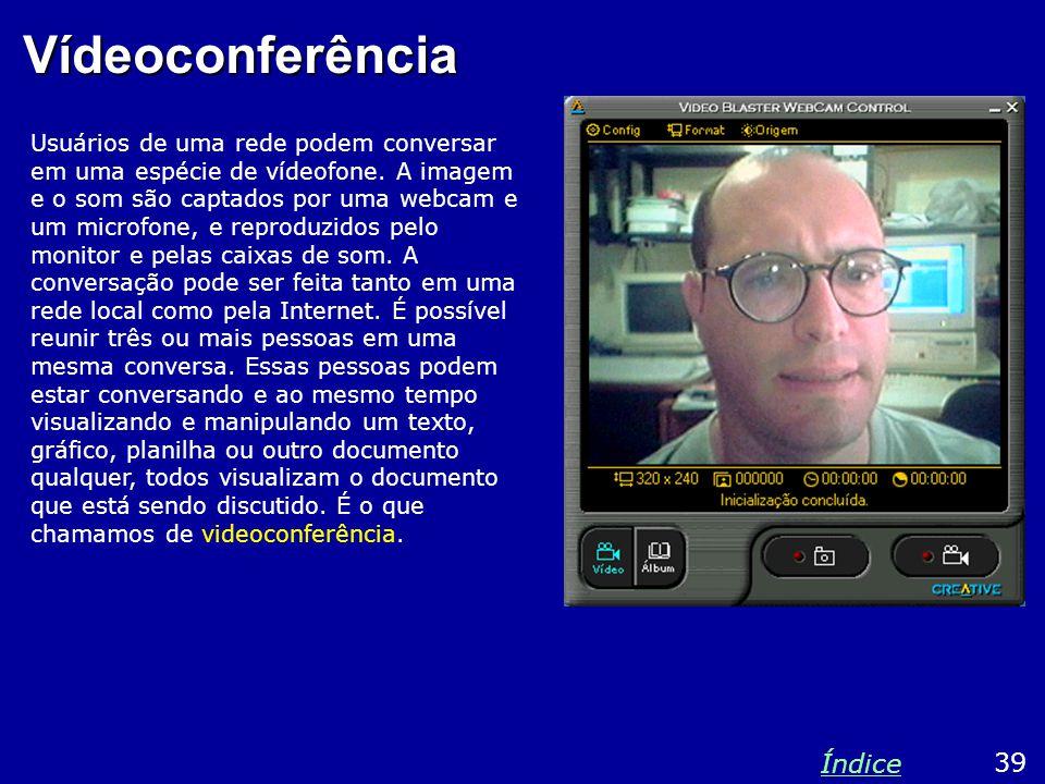 Vídeoconferência Usuários de uma rede podem conversar em uma espécie de vídeofone. A imagem e o som são captados por uma webcam e um microfone, e repr