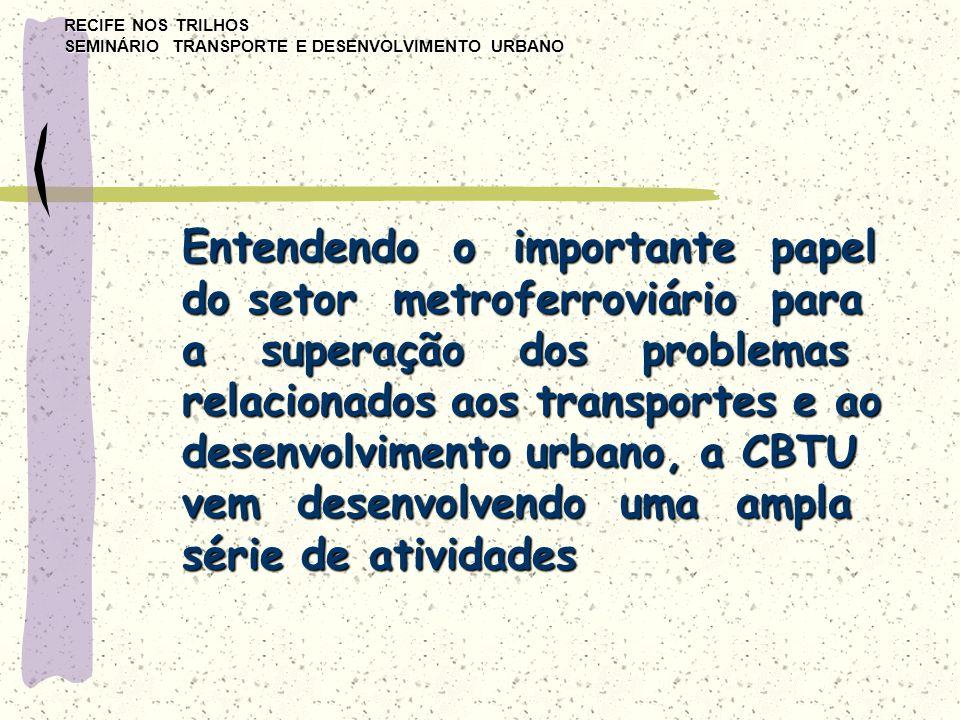 RECIFE NOS TRILHOS SEMINÁRIO TRANSPORTE E DESENVOLVIMENTO URBANO Entendendo o importante papel do setor metroferroviário para a superação dos problema