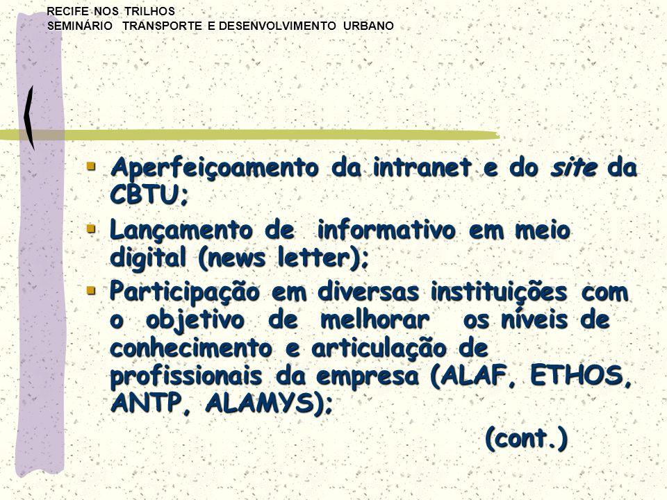 RECIFE NOS TRILHOS SEMINÁRIO TRANSPORTE E DESENVOLVIMENTO URBANO  Aperfeiçoamento da intranet e do site da CBTU;  Lançamento de informativo em meio