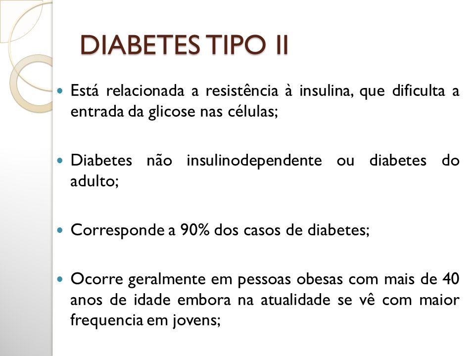 DIABETES TIPO II Está relacionada a resistência à insulina, que dificulta a entrada da glicose nas células; Diabetes não insulinodependente ou diabete