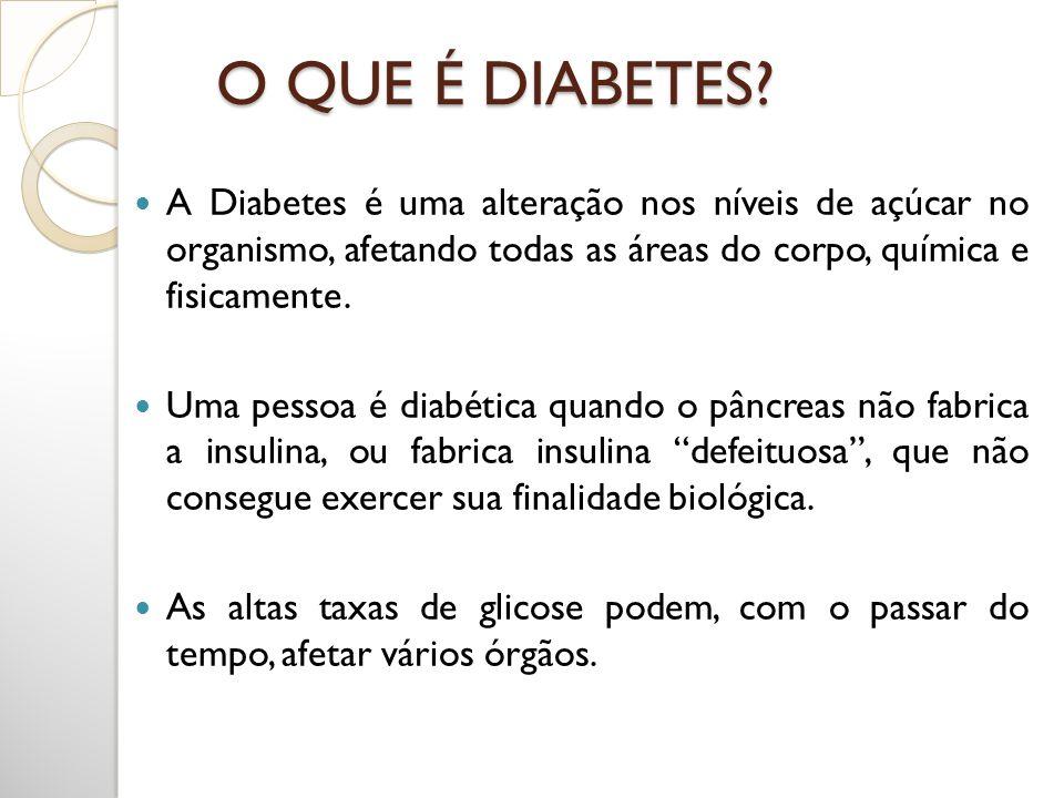 O QUE É DIABETES? A Diabetes é uma alteração nos níveis de açúcar no organismo, afetando todas as áreas do corpo, química e fisicamente. Uma pessoa é