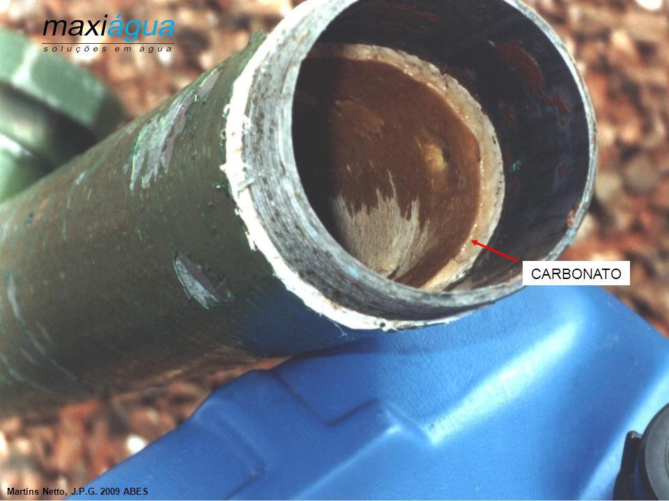 Incrustações por Carbonatos  Sintomas mais freqüentes - Queda acentuada de vazão - Não mostram alterações na água - Aprisionamento de bombas Ocorrem